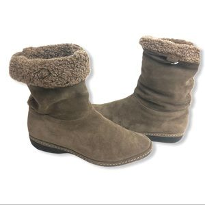 Stuart Weitzman Coinage Suede Shearling Lined Boot